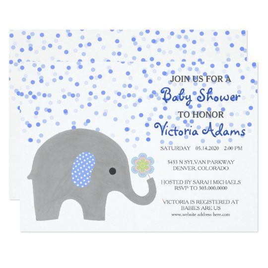 Blue Confetti Elephant Baby Shower Card