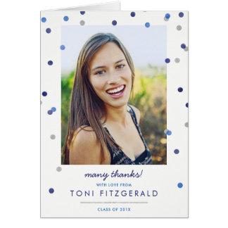 Blue Confetti Photo Graduation Thank You Card