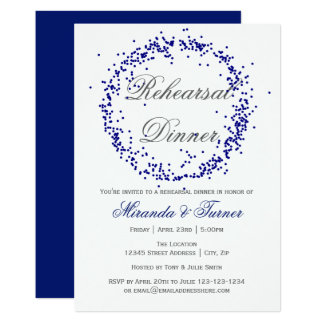 Blue Confetti - Rehearsal Dinner Invitation