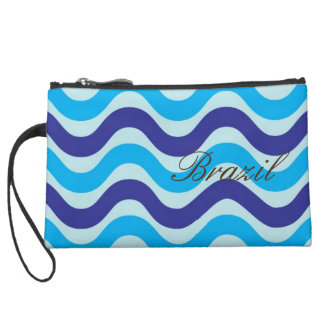Blue Copacabana Weave Sueded Mini Clutch