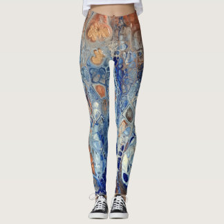 """Blue & Copper Abstract Leggings - """"The Blue Gator"""""""