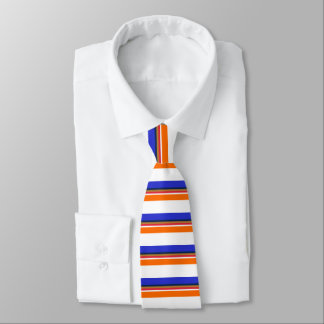 Blue Copper Red White and Orange Banded Tie