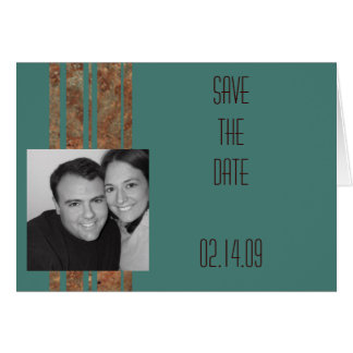 Blue & Copper Stripe Photo Save the Date Greeting Card