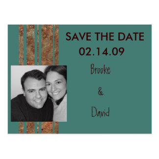 Blue & Copper Stripe Photo Save the Date Postcards
