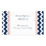 Blue Coral Chevron Wedding Favor Tags Business Card