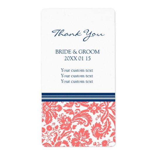 Blue Coral Damask Pattern Wedding Labels