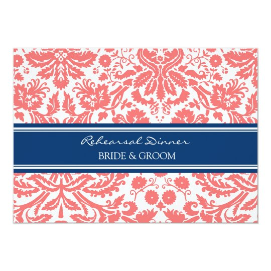 Blue Coral Damask Rehearsal Dinner Party Card