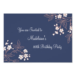 "Blue Coral Floral 80th Birthday Party Invitations 5"" X 7"" Invitation Card"