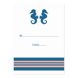 Blue Coral Nautical Seahorse Wedding Place Cards Pack Of Chubby Business Cards