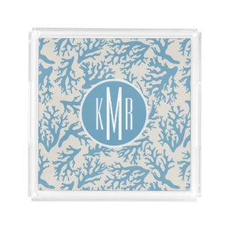 Blue Coral Pattern | Monogram Acrylic Tray
