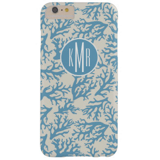 Blue Coral Pattern | Monogram Barely There iPhone 6 Plus Case