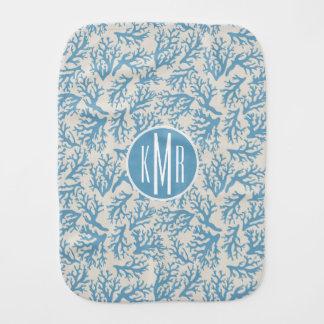 Blue Coral Pattern | Monogram Burp Cloth