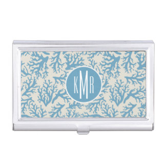 Blue Coral Pattern | Monogram Business Card Holder