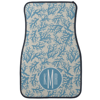 Blue Coral Pattern | Monogram Car Mat