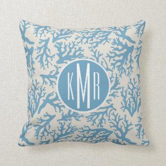 Blue Coral Pattern | Monogram Cushion