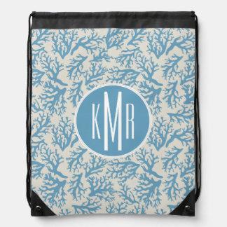 Blue Coral Pattern | Monogram Drawstring Bag