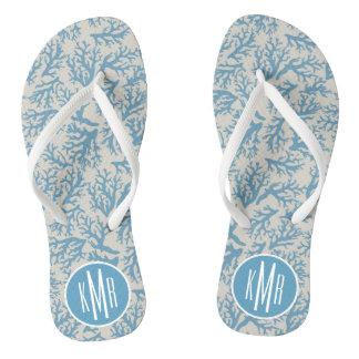 Blue Coral Pattern | Monogram Flip Flops
