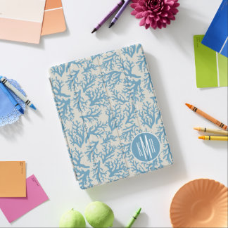 Blue Coral Pattern | Monogram iPad Cover