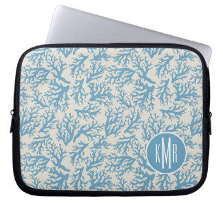 Blue Coral Pattern | Monogram Laptop Sleeve