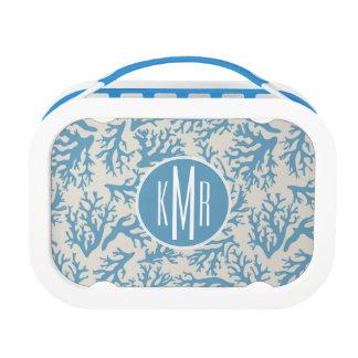 Blue Coral Pattern | Monogram Lunch Box