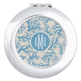 Blue Coral Pattern | Monogram Makeup Mirror