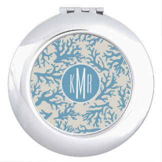 Blue Coral Pattern | Monogram Mirrors For Makeup