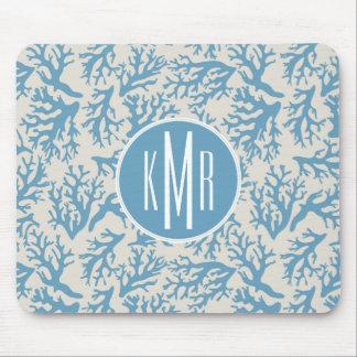 Blue Coral Pattern | Monogram Mouse Pad