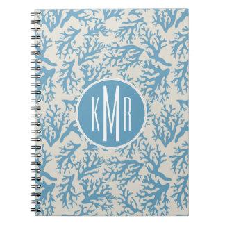 Blue Coral Pattern | Monogram Notebook