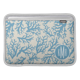 Blue Coral Pattern | Monogram Sleeve For MacBook Air