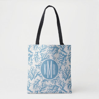 Blue Coral Pattern | Monogram Tote Bag