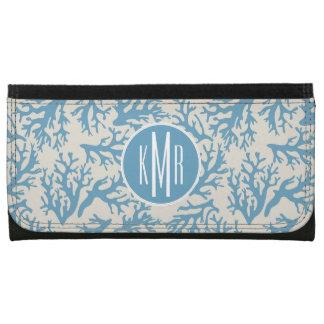 Blue Coral Pattern | Monogram Wallets