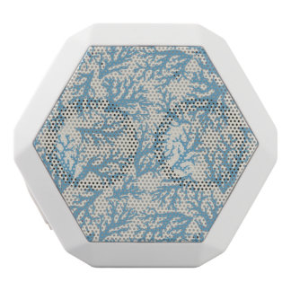 Blue Coral Pattern White Bluetooth Speaker