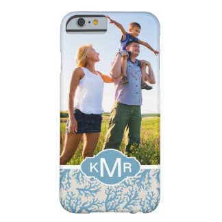 Blue Coral Pattern| Your Photo & Monogram Barely There iPhone 6 Case
