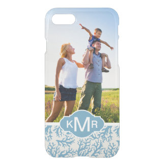 Blue Coral Pattern| Your Photo & Monogram iPhone 8/7 Case