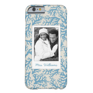 Blue Coral Pattern | Your Photo & Name Barely There iPhone 6 Case