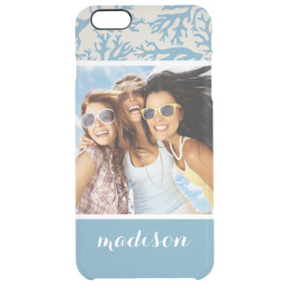 Blue Coral Pattern | Your Photo & Name Clear iPhone 6 Plus Case