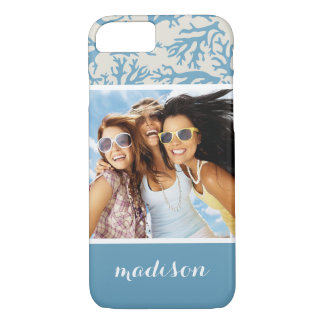 Blue Coral Pattern | Your Photo & Name iPhone 8/7 Case