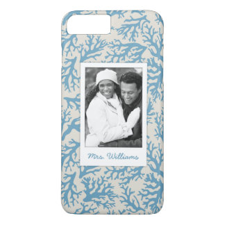 Blue Coral Pattern | Your Photo & Name iPhone 8 Plus/7 Plus Case