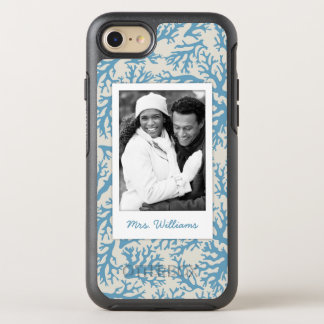 Blue Coral Pattern   Your Photo & Name OtterBox Symmetry iPhone 7 Case
