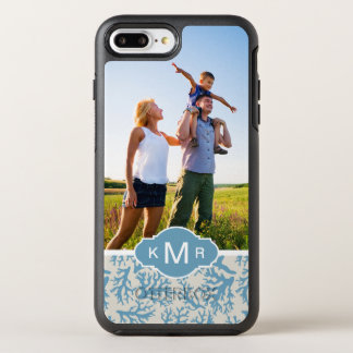 Blue Coral Pattern | Your Photo & Name OtterBox Symmetry iPhone 7 Plus Case