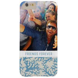 Blue Coral Pattern | Your Photo & Text Barely There iPhone 6 Plus Case