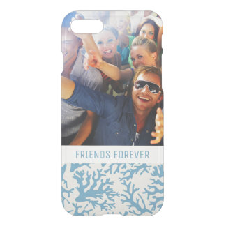 Blue Coral Pattern | Your Photo & Text iPhone 8/7 Case