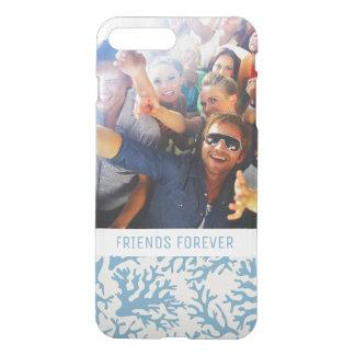 Blue Coral Pattern   Your Photo & Text iPhone 8 Plus/7 Plus Case