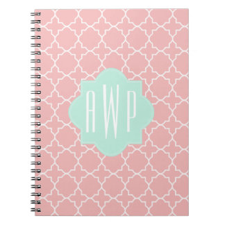 Blue + Coral Quatrefoil Monogram Spiral Notebook