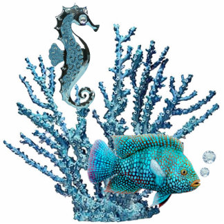 Blue Coral Reef Pin Photo Sculpture Badge