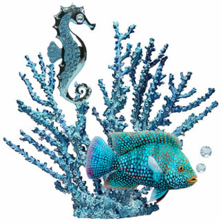 Blue Coral Reef Sculpture Standing Photo Sculpture