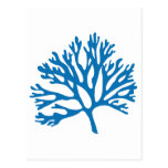 blue coral silhouette postcard