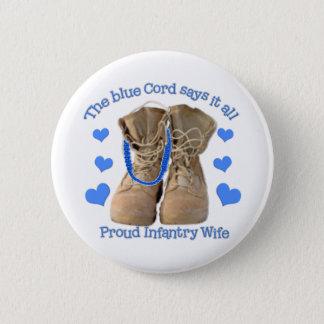 blue cord 6 cm round badge