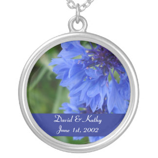 Blue Cornflower Flower Necklace