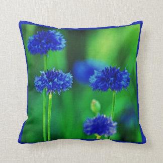 Blue cornflowers throw pillows
